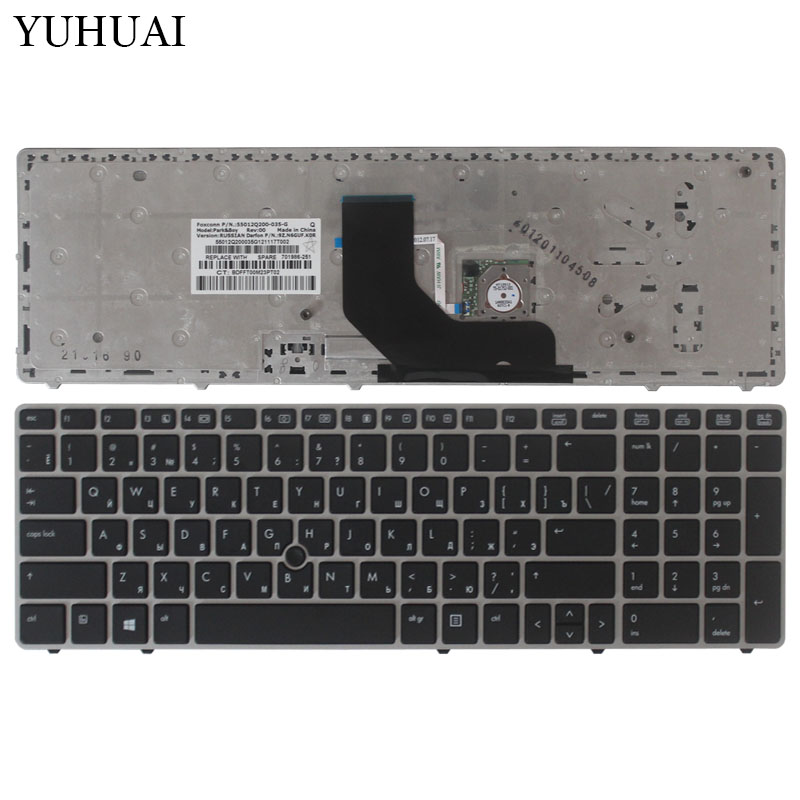 New Russian Keyboard For HP EliteBook 8560p 8570P 8560B 6560b 6565b 6560P RU Laptop Keyboard With The Mouse Pole 701986-251