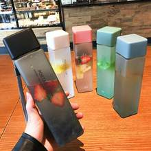 1Pc 500ml tazza di acqua opaca di plastica quadrata trasparente tazza di sport acquatici per succo freddo all'aperto con tazza di acqua portatile in corda di latte