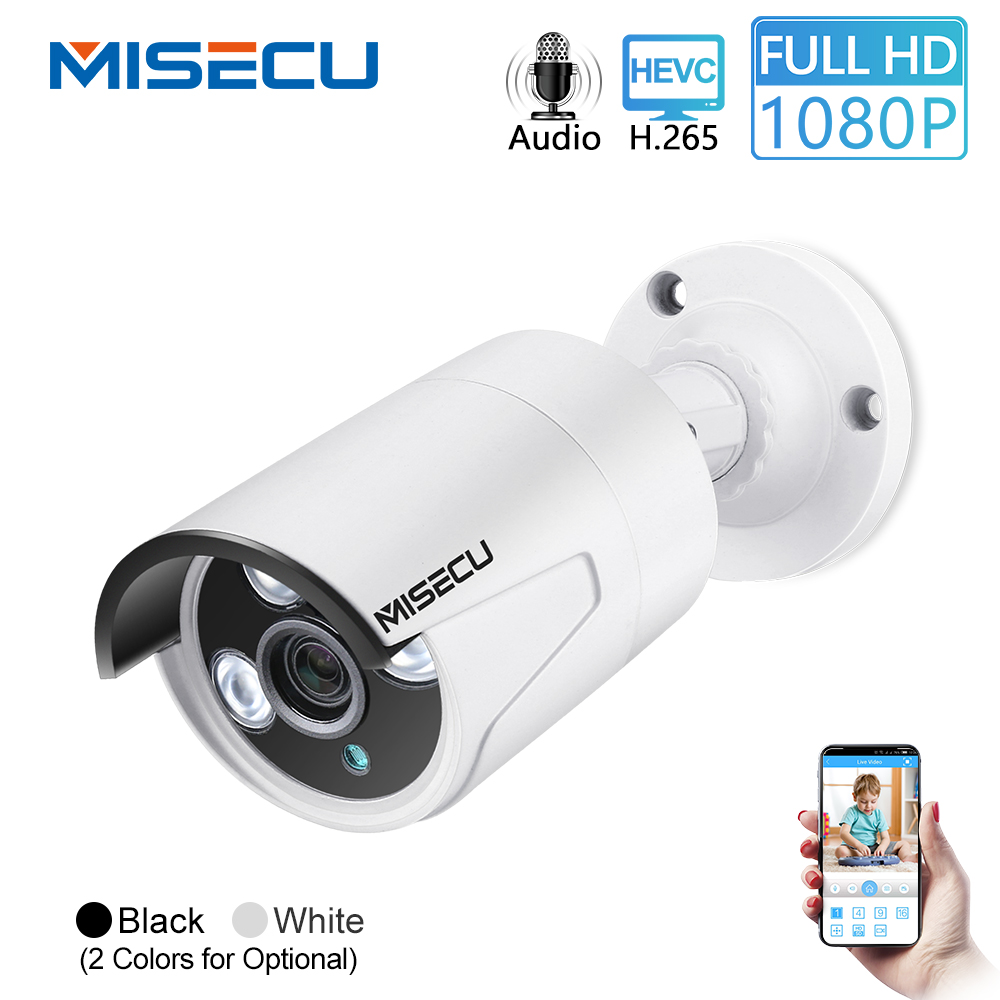 MISECU H.265 1080P POE IP Camera 2MP Audio Bullet Camera Onvif Waterproof IP66 Indoor Outdoor Home Security Video Surveillance
