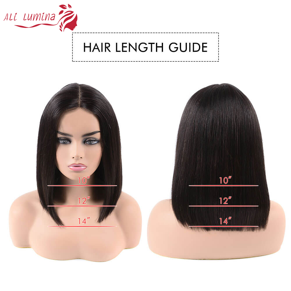 Straight Short  Wigs 4*4 Lace Closure Wig  Virgin Bob Wig Pre Plucked With Baby Hair 5