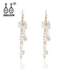 DREJEW Fashion Long Tassel Crystal Pearl Flower Statement Dangle Earrings Korean Drop Earrings for Women Wedding Jewelry HE8511
