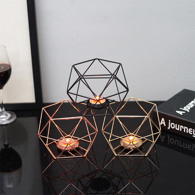Nordic Style Geometric Iron Candlestick Candle Holders Home Wall Romantic Durable Candlesticks Wedding Home Decoration Craft 1