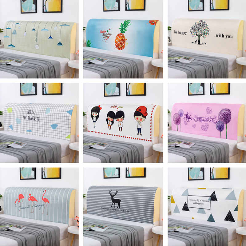 120-220cm Nordic Cartoon Bed Head Cover Full Enclosed Elastic Dust-proof Bed Head Cover/ Protective Cover