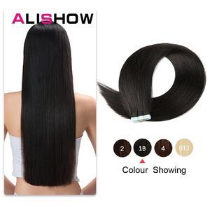 Image 1 - Alishow 18 cal taśmy w Remy doczepy z ludzkich włosów podwójne wyciągnąć włosy proste niewidoczne wątek skóry PU włosów