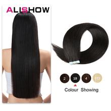 Alishow 18 inch Tape In Remy Human Hair Extensions Double Drawn Hair Straight Invisible Skin Weft PU Hair