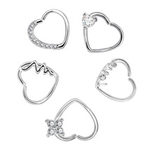 2pcs Anti-allergy Hot Selling Zircon Nose Ring Earrings Ear Nail Piercing Stainless Steel Woman Sexy Lady Body Jewelry