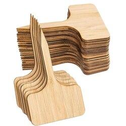 50 sztuk bambusowe etykiety roślin  ekologiczne t-type drewniane rośliny znak tagi ogrodowe markery do nasion doniczkowe zioła kwiaty warzywa (
