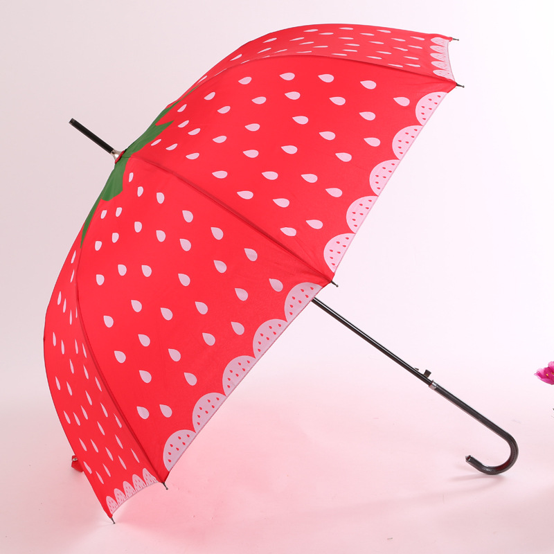 Manufacturers A Large Amount Supply Valentine's Day Strawberry Straight Umbrella NC Fabric Umbrella Adult Automatic All-Weather