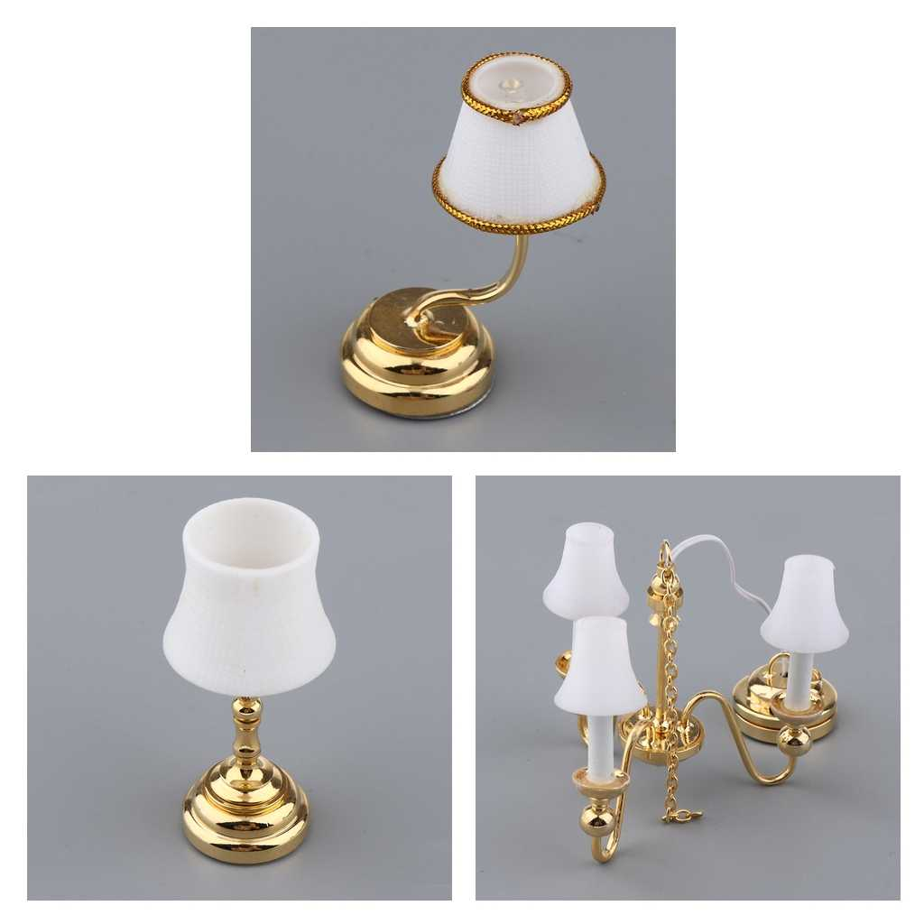1//12 Dollhouse Miniature Furniture Bedroom White Lampshade Table Lamp