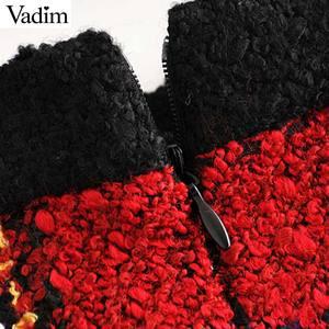 Image 4 - Vadim elegante para mujer tweed patchwork plaid mini falda trasera con cremallera bolsillos decorar ropa de oficina faldas con estilo femenino BA860