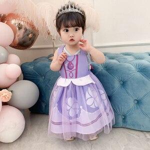 MUABABY niños Elsa delantal niño Blancanieves Babero con caricaturas bebé niña traje infantil Princesa Sofía Cute Backless tul Smock