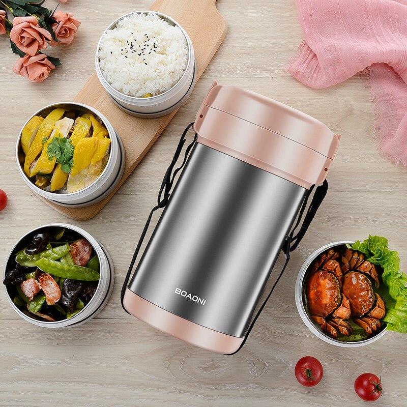 BOAONI 2000 мл пищевой Ланч бокс из нержавеющей стали контейнер для горячего супа вакуумная колба термос изолированный кухонный школьный Ланч бокс es - 4