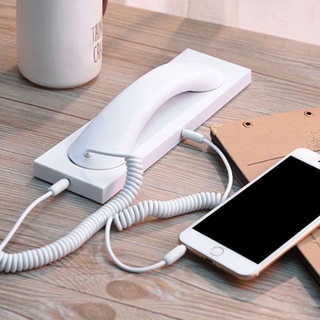 Retro telefon ahizesi kulaklık 3.5MM PC Comtuper mikrofon tabanı ile cep telefonu için