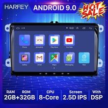 Harfey Radio Multimedia con GPS para coche, Radio con reproductor, Android 9,0, 2DIN, navegador, para Volkswagen, Golf, Polo, Tiguan, Passat, b7, b6, leon, Skoda, Octavia