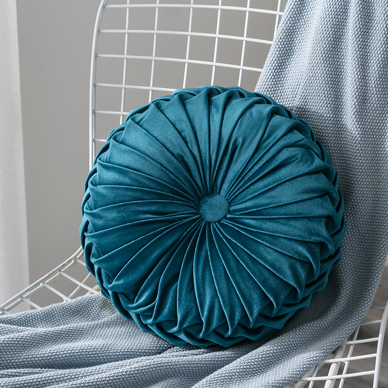 Newest-Home-Textile-Velvet-Pleated-Round-Solid-Color-Cushion-Pouf-Throw-Home-Soft-Cushion 5