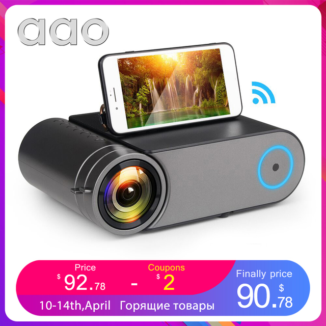 $ US $92.78 AAO YG420 K9 Mini LED 720P Projector Native 1280x720 Portable Wireless WiFi Multi Screen Video Beamer YG421 3D HDMI Projector