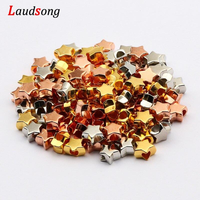 50 шт. розового золота серебра браслетов, ожерелий, диаметр-акриловая звезда бисер с большим отверстием, бисер для браслетов, для изготовлени...