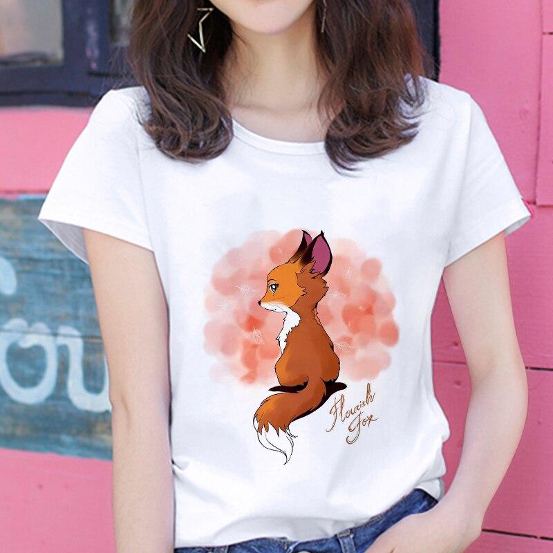2019 New Kawaii Fox Printed T Shirt Women Hipster Cute T-shirt Female Fashion Seasons Harajuku White 0-neck Tops Tshirt Clothing