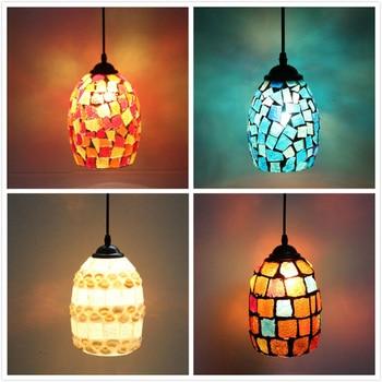Color Mosaic Bohemian Pendant Light Restaurant Cafe Bar Aisle Balcony Retro Hang Light Mediterranean Creative Pendant Lamp