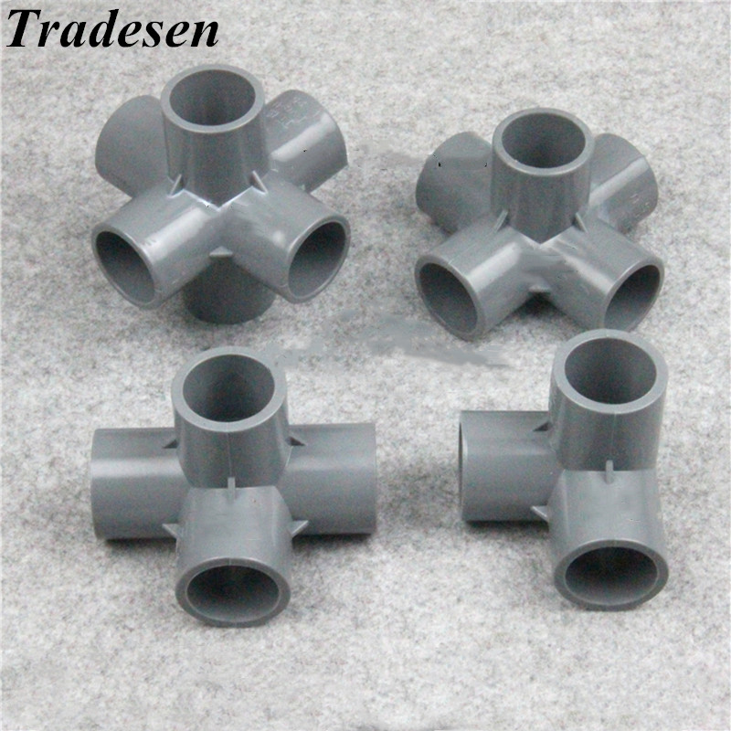 20mm Inner Dia T Shape 3 Way Water Pipe Tube Fitting Connector Gray 2Pcs