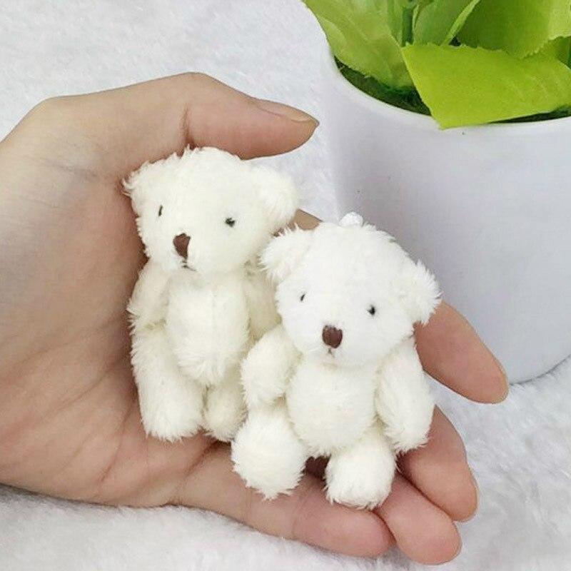 5Pcs/Lot 6CM Kawaii Mini Teddy Bear Stuffed Plush Toys For Children White Pink Brown DIY Pendant Doll Birthday Ornament Gift