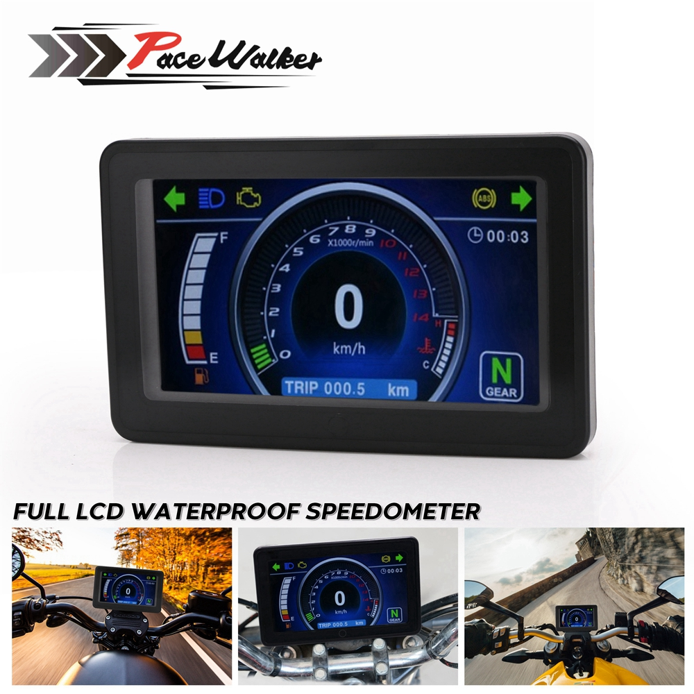 Universal Motorcycle 1,2,4 Cylinder LCD Display Multi-function Instrument Cluster Replaceable Speedometer Display Instrument