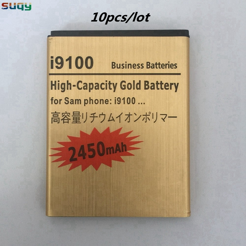 suqy 10pcs Replacement Battery for Samsung Galaxy s2 EB-F1A2GBU 2450mAh Phone Battery for Galaxy <font><b>i9100</b></font> i9108 i9050 i9105 i9103 image