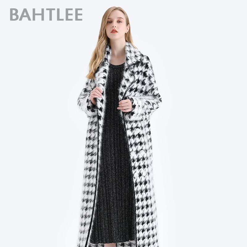 BAHTLEE Women Angora Long Coat Houndstooth Pattern Sweater Winter Wool Knitted Cardigans Jumper Turn Down Collar Long Sleeves