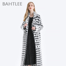 BAHTLEE Women Angora Long Coat Houndstooth Pattern Sweater Winter Wool Knitted Cardigans Jumper Turn Down Collar Long Sleeves dark grey embroidery pattern lantern sleeves knitted cardigans