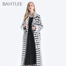BAHTLEE Women Angora długi płaszcz Houndstooth wzór sweter zimowy wełniany kardigany z dzianiny sweter skręcić w dół kołnierz z długim rękawem