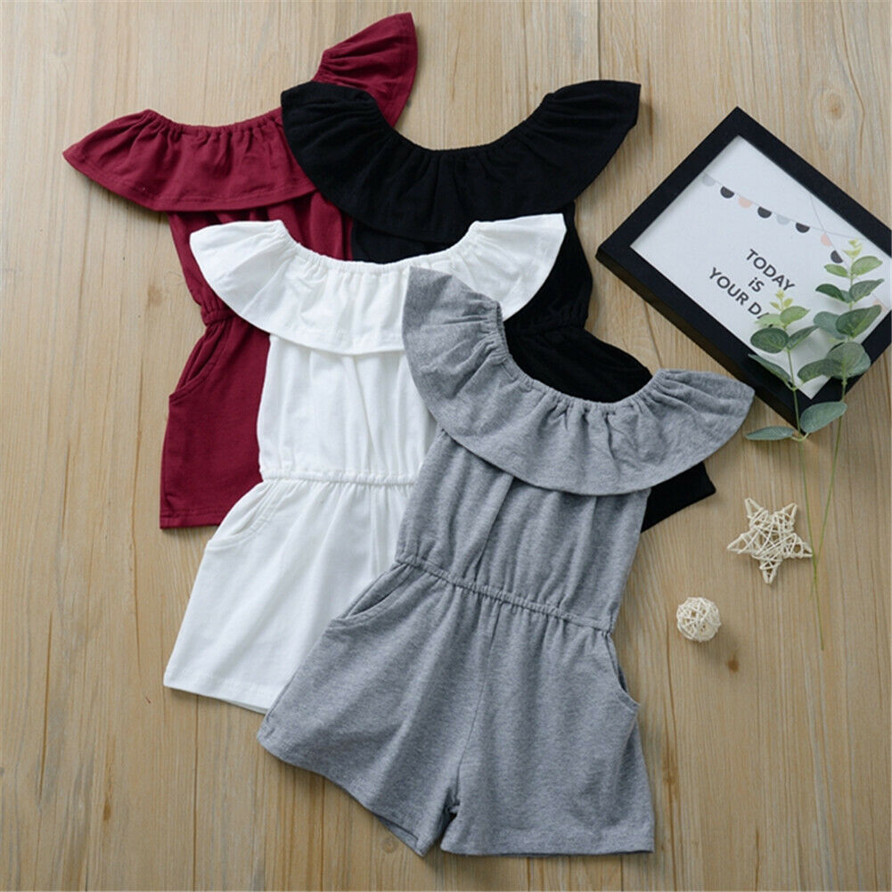 Toddler Baby Girls 6M-4T Rompers One-Pieces Short Sleeve Solid Off Shoulder Casual Summer Romper