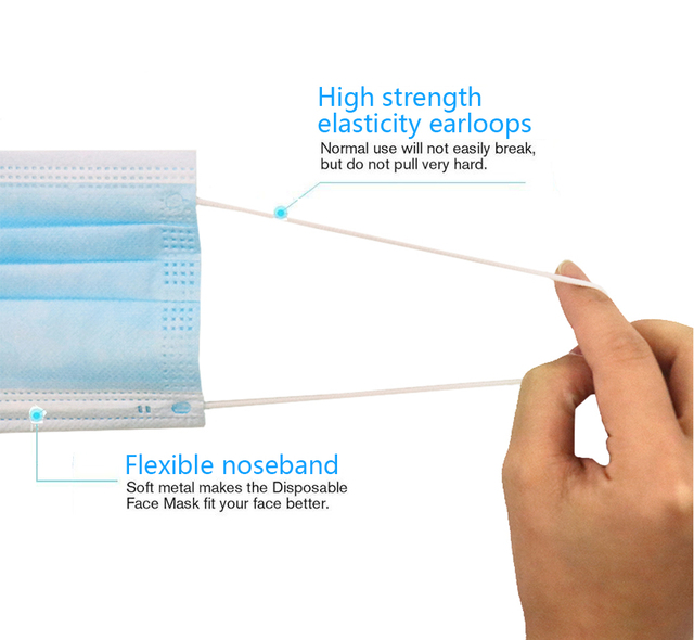 50pcs Disposable Face Mouth Masks Non-Woven Face Masks 3 Layers Filter Earloop Mask Breathable Waterproof Masks 2