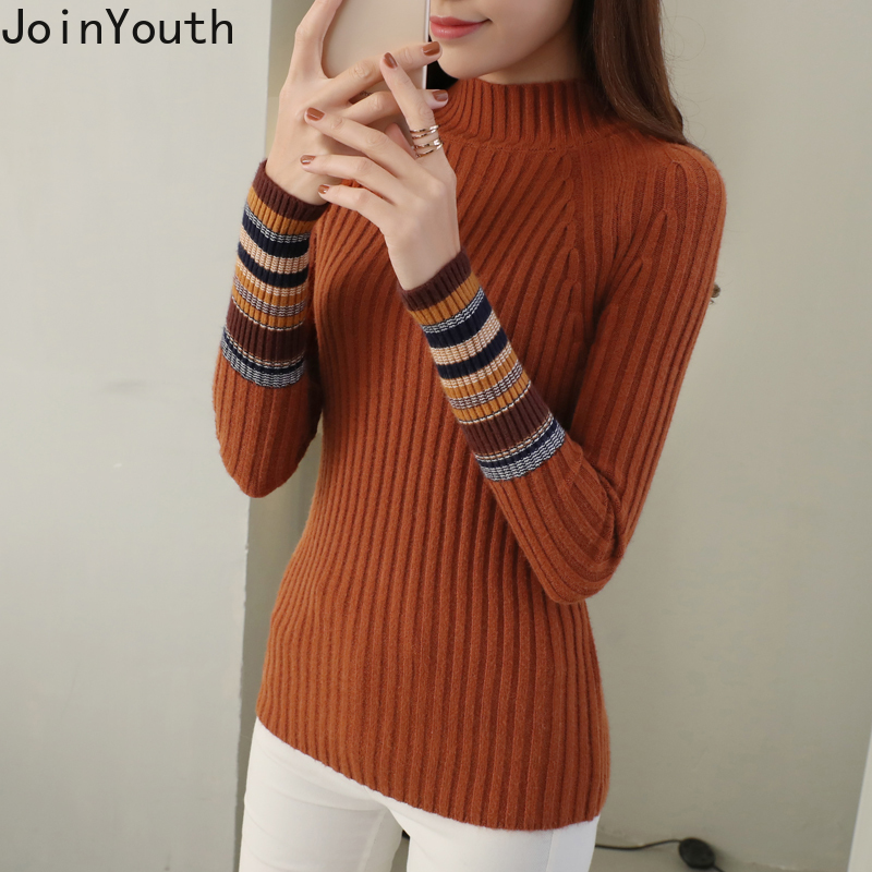 JoinYouth Half Turtleneck Warm Pullovers 2020 Autumn Winter Clothes Women Striped Warm Sweaters Korean Pull Femme Slim J223