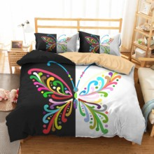 Complete Bedding Sets Couple Bed Cover Butterfly Printed King Double Size Home Textiles Duvet Cover