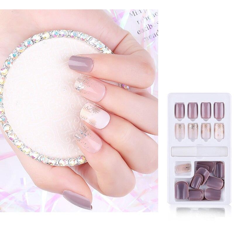 30pcs False Nail Artificial Tips with Glue for design short Fake Nails False Nail capsule art accessaries Press on Nails(China)