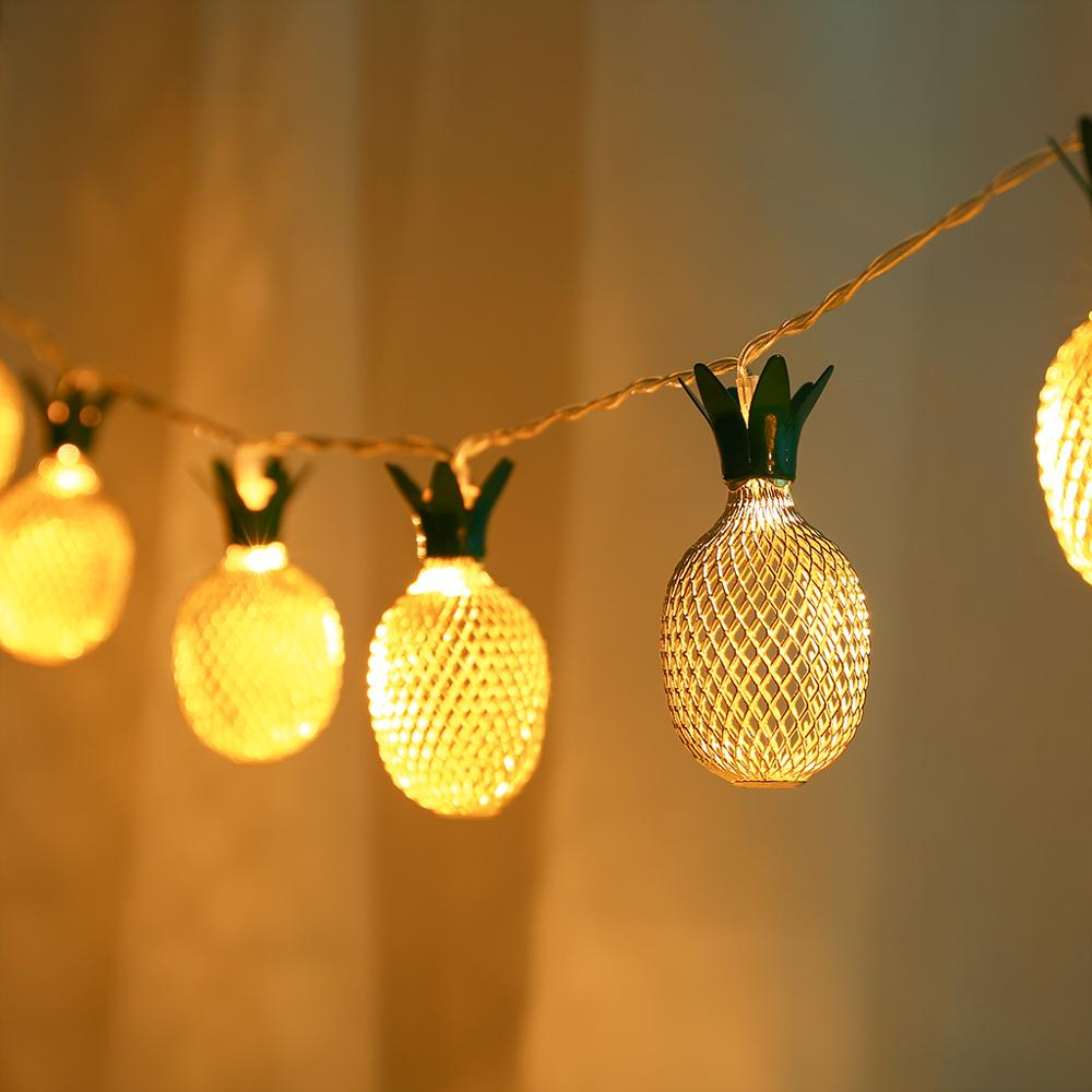 Retro Style Gold Pineapple String Lights 10LED USB Powered Lights For Bedroom Wedding Birthday Party Decor