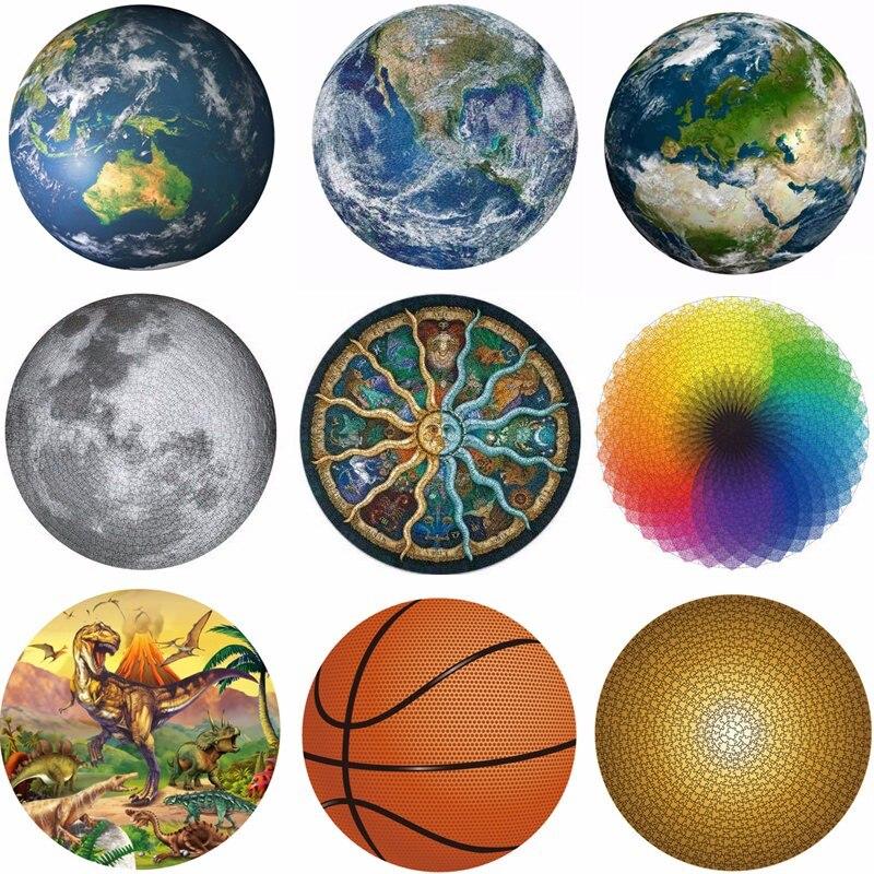 1000 peças quebra-cabeças crianças brinquedo educativo espaço estrelas lua terra dropship round puzzle jogo brinquedos para adultos crianças presentes