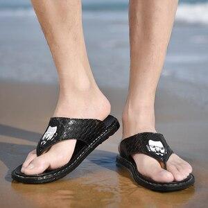 Image 5 - Hommes plein air sandales 2020 nouveau cuir chevrons tongs décontracté mode antidérapant résistant à lusure marée chaussures