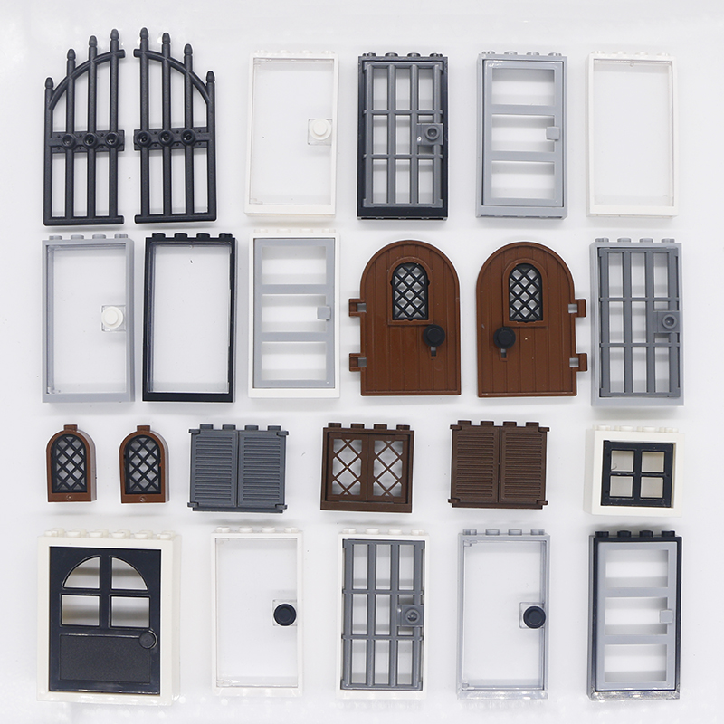 Compatible City House Accessories Building Blocks Door Window Garden Parts City Street Road MOC Brick Toys For Children Military