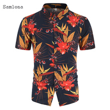 2020 Summer Short Sleeve 3D Print Tops Male Lapel Neck Loose Button Up Blouse Breathable Mens Sexy Shirts blusas mujer de moda