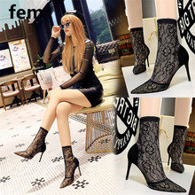 Shoes Lace Black Boots Pointed Toe Heels Women Floral Stiletto Heels Shoes For Women Thin Heels Mesh Embroider Ladies Fashion cheap Mesh (Air mesh) Mid-Calf Flower BIG 6313-8 Adult Basic Microfiber Summer Rubber Super High (8cm-up) Slip-On Fits true to size take your normal size