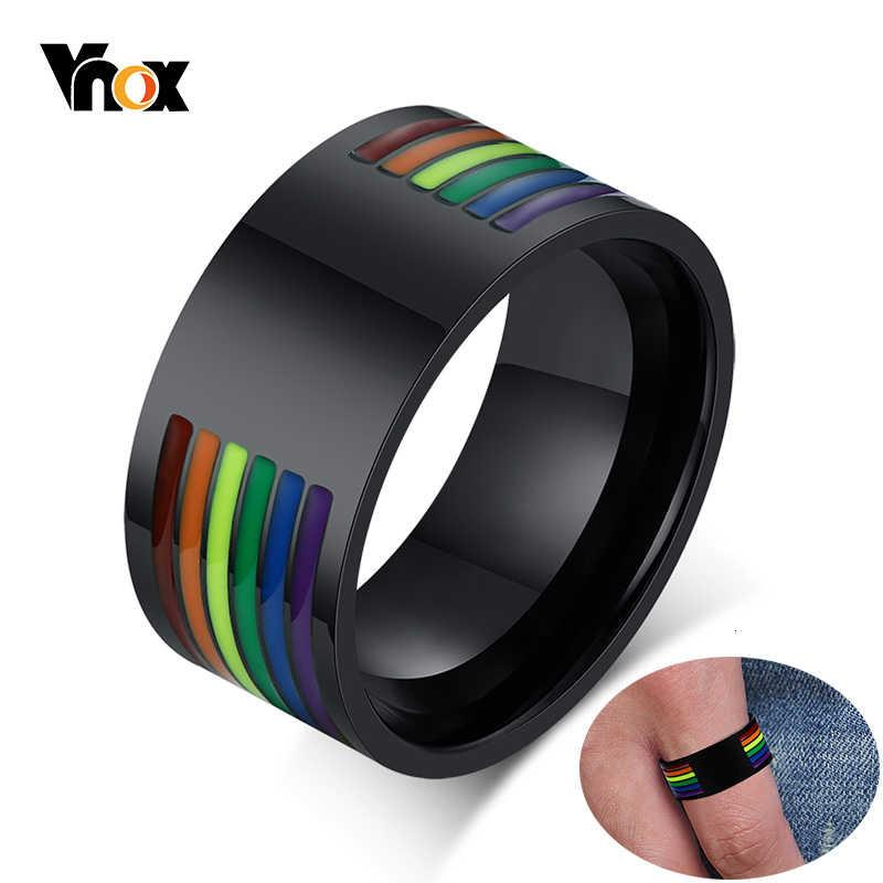 Vnox Mens 10mm สแตนเลสสตีลเคลือบสายรุ้งสายรุ้ง LGBT Pride แหวนสำหรับ Lesbian & เกย์งานแต่งงานเครื่องประดับ