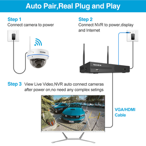 Image 2 - Techege 1080P אלחוטי אבטחת CCTV המצלמה מערכת 8CH WiFi NVR ערכת Vandalproof כיפת IP מצלמה מקורה P2P וידאו מעקב סט