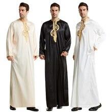 Robe longue pour hommes musulmans Jubba Thobe, vêtements islamiques, Kimono, Abaya, Caftan, Jubah, dubaï, tenue arabe, col montant