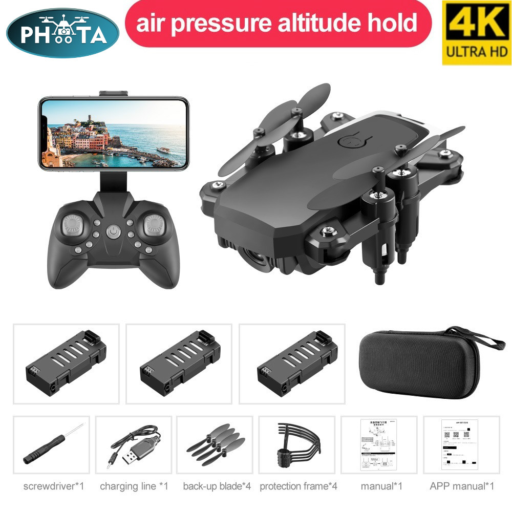 LF606 Wifi FPV Mini Foldable RC Drone with 4K HD Camera Follow Altitude Hold 3D Flips Headless RC Helicopter Kid's Toys Aircraft