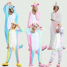 цены на Adult Kugurumi Unicorn Pajamas onesie Women  Cartoon Winter Flannel Pajama Kigurumi adult Nightie Stitch unicornio Sleepwear  в интернет-магазинах