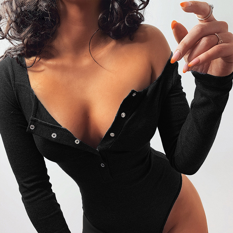 2020 Spring Women Sexy Bodysuit Winter Casual Bodycon Black Solid Knitted Bodysuits Body Tops For Women Female