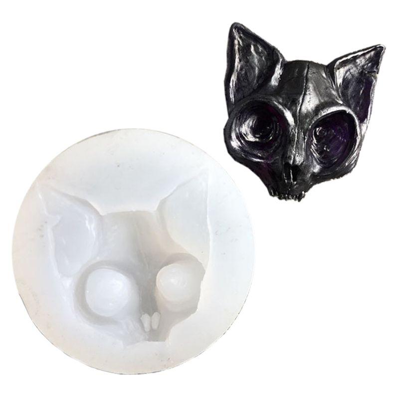 2021 New Epoxy Resin Eye kitten Charm Silicone Mold Sphynx Cat Mold Raven Skull Head Mold
