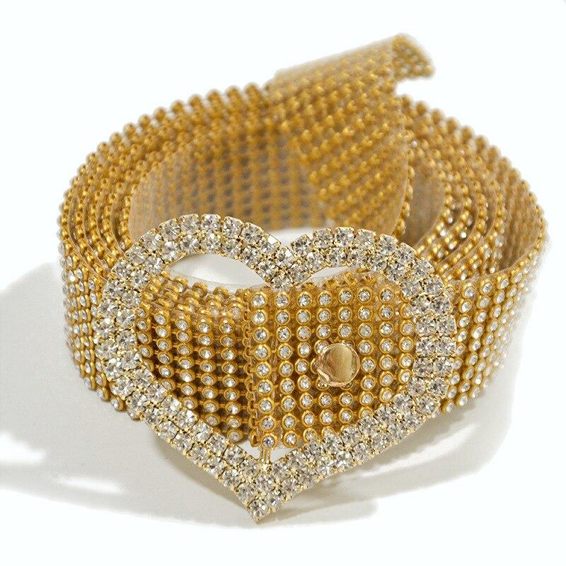 Fashion Shiny Crystal Belt Women 9 Rows Full Rhinestone Shiny Waistband Casual Party Dress Belt Waist Chain Hotsale Belts
