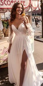 Image 3 - Lorie Váy Cưới Công Chúa Người Yêu Appliqued Tay Phồng Cô Dâu Đầm Chữ A Hở Lưng Boho Áo Cưới